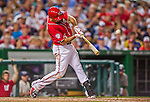 22 August 2015: Washington Nationals infielder Anthony Rendon connects for a solo home run against the Milwaukee Brewers at Nationals Park in Washington, DC. The Nationals defeated the Brewers 6-1 in the second game of their 3-game weekend series. Mandatory Credit: Ed Wolfstein Photo *** RAW (NEF) Image File Available ***
