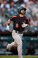 Rochester Red Wings Mike Miller (8) runs to first base during an International League game against the Buffalo Bisons on August 26, 2019 at Sahlen Field in Buffalo, New York.  Buffalo defeated Rochester 5-4.  (Mike Janes/Four Seam Images)