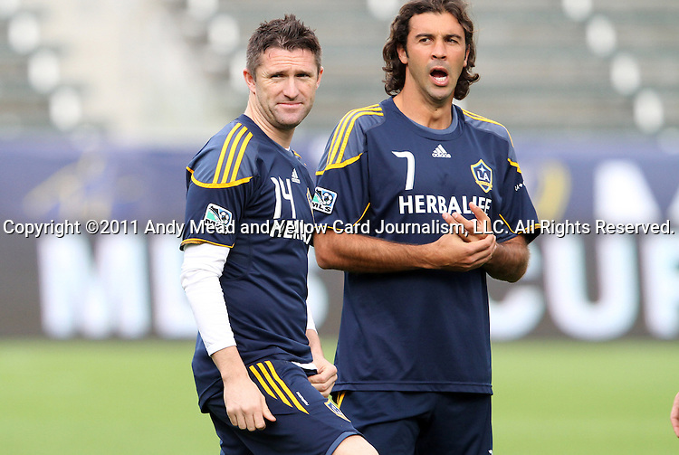 19 November 2011: Robbie Keane (IRL) (14) and Jovan Kirovski (7). The Los Angeles Galaxy held a practice session at the Home Depot Center in Carson, CA one day before playing in MLS Cup 2011.