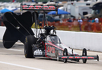 Apr 25, 2015; Baytown, TX, USA; NHRA top fuel driver Steve Torrence during qualifying for the Spring Nationals at Royal Purple Raceway. Mandatory Credit: Mark J. Rebilas-