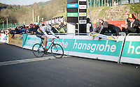 race winner Wout Van Aert (BEL/Vastgoedservice-Golden Palace) barely makes it to the finish line after he gave it all overtaking Michael Vanthourenhout (BEL/Sunweb-Napoleon Games) on the steep Raidillon finish climb<br /> <br /> Superprestige Francorchamps 2014