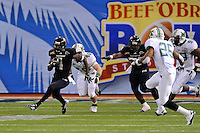 20 December 2011:  FIU wide receiver T.Y. Hilton (4) carries the ball in the first quarter as the Marshall University Thundering Herd defeated the FIU Golden Panthers, 20-10, to win the Beef 'O'Brady's St. Petersburg Bowl at Tropicana Field in St. Petersburg, Florida.