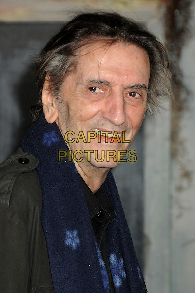 "HARRY DEAN STANTON.The L.A. Premiere of ""Rango"" held at The Regency Village Theatre in Westwood, California, USA, .February 14th 2011.headshot portrait black blue scarf  .CAP/ADM/BP.©Byron Purvis/AdMedia/Capital Pictures."