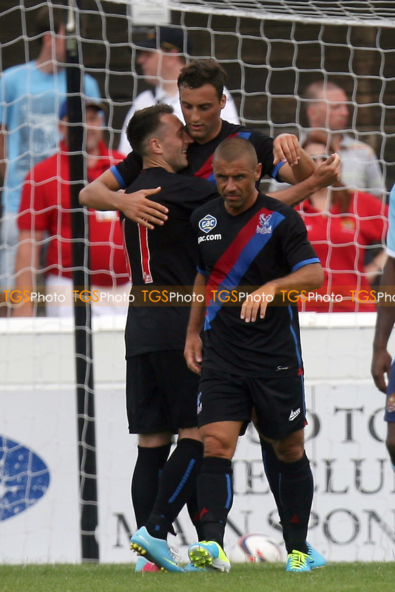 Atdhe Nuhiu of Crystal Palace is congratulated after scoring the opening goal - Dagenham and Redbridge vs Crystal Palace at the London Borough of Barking and Dagenham Stadium - 20/07/13 - MANDATORY CREDIT: Dave Simpson/TGSPHOTO - Self billing applies where appropriate - 0845 094 6026 - contact@tgsphoto.co.uk - NO UNPAID USE