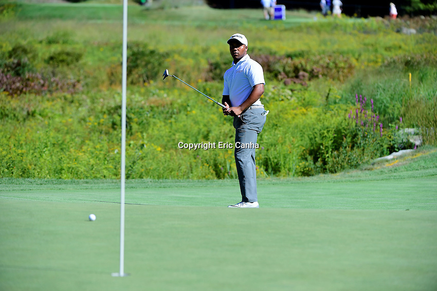 Friday, September 2, 2016:  Harold Varner III watches his putt on the on the third green during the first round of the Deutsche Bank Championship tournament held at the Tournament Players Club, in Norton, Massachusetts.  Eric Canha/Cal Sport Media