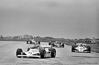 Bobby Rahal leads a group of cars on his way to winning the 1982 IndyCar race in Cleveland, Ohio, the first victory of his IndyCar career.