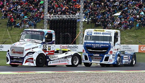 3rd September 2017, Most Racing Track, Most, Czech Republic; FIA European Truck Racing Championship; 3rd race, the winner of the race left Adam LACKO (CZ/Freightliner/Buggyra International Racing System) and the second placed Jochen HAHN (GER/Iveco/Team Hahn Racing)