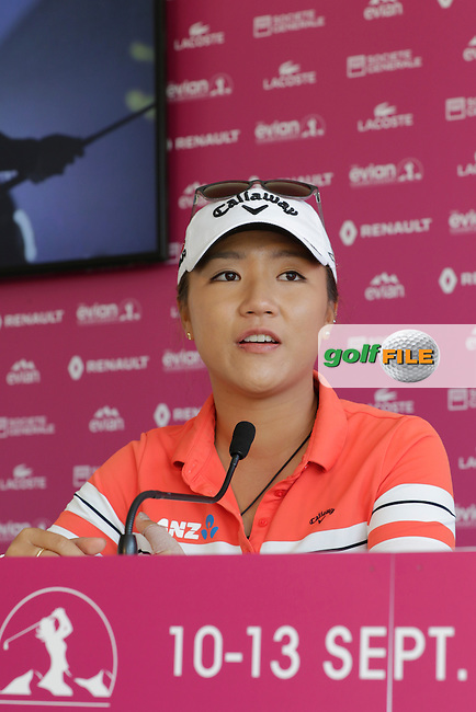Lydia Ko (NZL) press conference during Wednesday's Pro-Am of the LPGA 2015 Evian Championship, Evian les Bains, France. 09/09/2015.<br /> Picture Eoin Clarke | Golffile