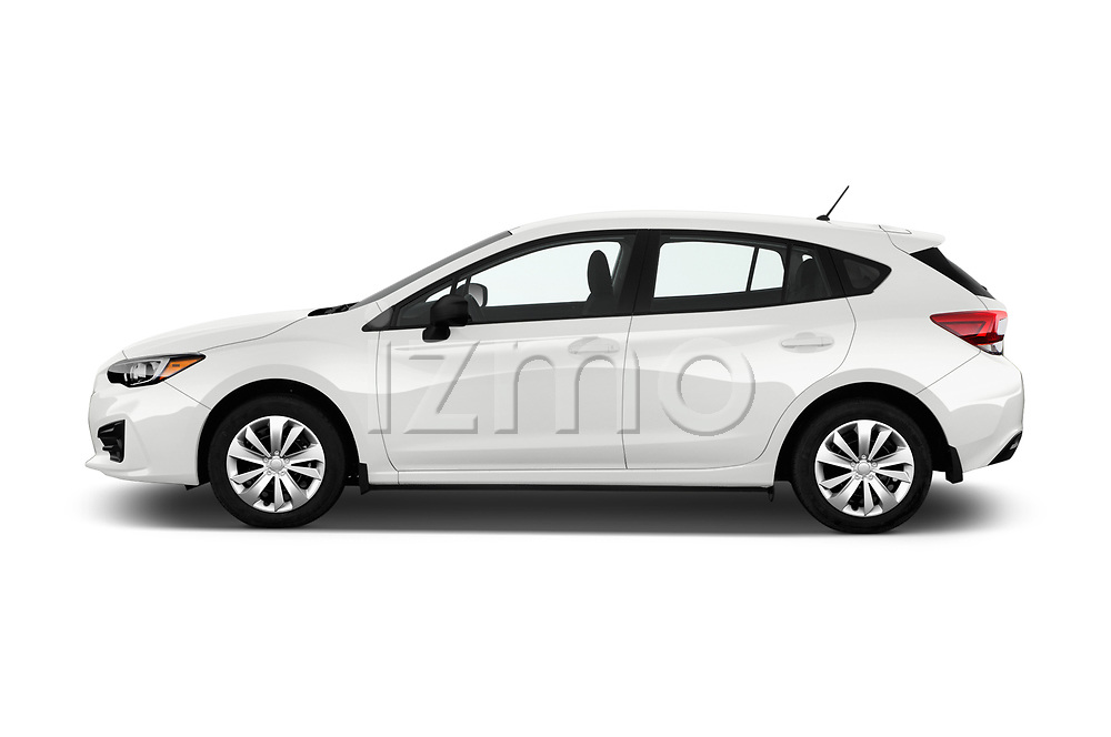 Car Driver side profile view of a 2017 Subaru Impreza CVT 5 Door Hatchback Side View