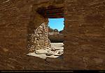Plaza Window and Type III Masonry, Chetro Ketl Chacoan Great House, Anasazi Hisatsinom Ancestral Pueblo Site, Chaco Culture National Historical Park, Chaco Canyon, Nageezi, New Mexico