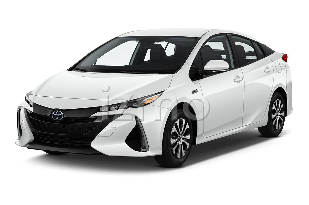 2020 Toyota Prius-Prime XLE 5 Door Hatchback angular front stock photos of front three quarter view