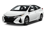 2020 Toyota Prius-Prime XLE 5 Door Hatchback angular front stock photos of front three quarter view