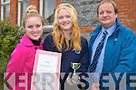 Aine O'Connor from St Josephs Secondary School in Castleisland has won two international poetry awards in the  Cuisle Limerick International Poetry Festival. .L-R Teacher Andrea Thorton, Aine O'Connor and vice principal Padraig Kelliher.