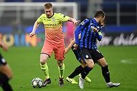 6th November 2019, Milan, Italy; UEFA Champions League football, Atalanta versus Manchester City; Alejandro Papu Gomez of Atalanta BC beaten by Kevin De Bruyne of Manchester City