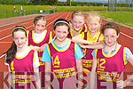 Castleisland Presentation NS athletes l-r: Clodagh O'Sullivan, Saoirse Murphy, Katie O'Connor, Grace McCarthy, Sabriele Lukosiute? and Christine Brosnan at the Kerry Primary School Sports County Finals in An Riocht Castleisland