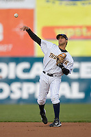 Second baseman Reegie Corona #32 of the Trenton Thunder makes a throw to first base at Waterfront Park May 12, 2009 in Trenton, New Jersey. (Photo by Brian Westerholt / Four Seam Images)