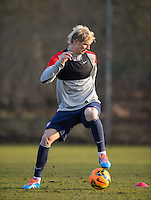 Frankfurt, Germany - Sunday, March 2, 2014: The USA Men's national team practices in preparation for it's match against Ukraine. Brek Shea wears a GPS device during training.