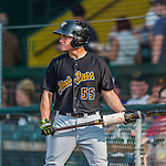 12 July 2015: West Virginia Black Bears outfielder Ty Moore stands on deck during a game against the Vermont Lake Monsters at Centennial Field in Burlington, Vermont. The Lake Monsters rallied to defeat the Black Bears 5-4 in NY Penn League action. Mandatory Credit: Ed Wolfstein Photo *** RAW Image File Available ****