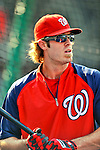 21 June 2011: Washington Nationals outfielder Jayson Werth awaits his turn in the batting cage prior to a game against the Seattle Mariners at Nationals Park in Washington, District of Columbia. The Nationals rallied from a 5-1 deficit, scoring 5 runs in the bottom of the 9th, to defeat the Mariners 6-5 in inter-league play. Mandatory Credit: Ed Wolfstein Photo