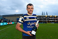 Man of the Match Zach Mercer of Bath Rugby poses for a photo after the match. Gallagher Premiership match, between Bath Rugby and Harlequins on March 2, 2019 at the Recreation Ground in Bath, England. Photo by: Patrick Khachfe / Onside Images