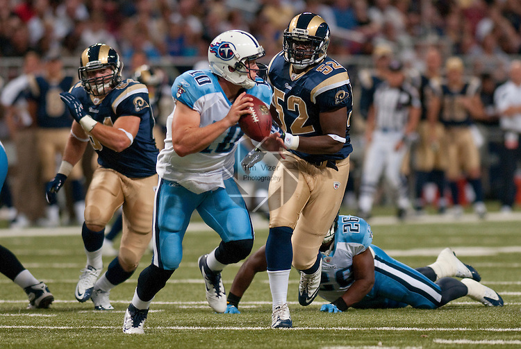 20 August 2011                             Tennessee Titans quarterback Jake Locker (10, center) drops back as he's chased by St. Louis Rams offensive tackle Kevin Hughes (64, left) and St. Louis Rams linebacker Jabara Williams (52) in the third quarter. The St. Louis Rams defeated the Tennessee Titans 17-16 in a pre-season football game at the Edward Jones Dome in downtown St. Louis, Missouri on Saturday August 20, 2011.