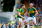 Paul Geaney and Kieran Donaghy celebrate a goal against  Cork in the Munster Senior Football Final at Fitzgerald Stadium on Sunday.