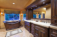 Custom Design Bathroom with Built in Cabinets and Honed Granite Countertop