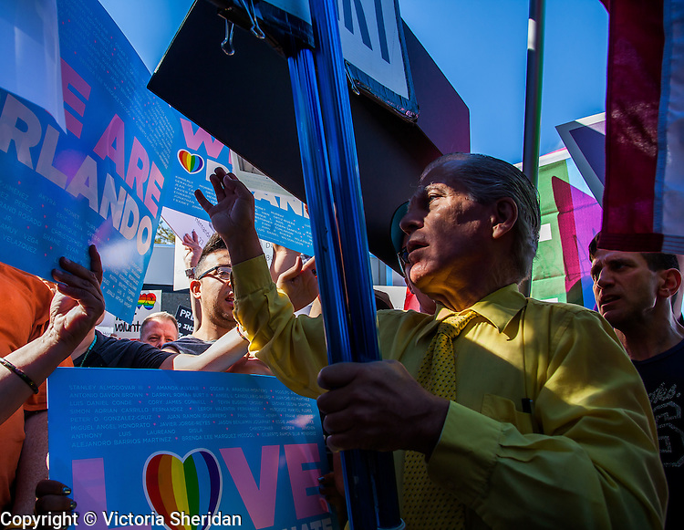 Hundreds of protesters gathered at Verity Baptist Church in Sacramento, California on Sunday, June 19, 2016 to protest the recent sermons and announcements made by pastor Roger Jimenez in support of the Orlando massacre. Photos/Victoria Sheridan 2016