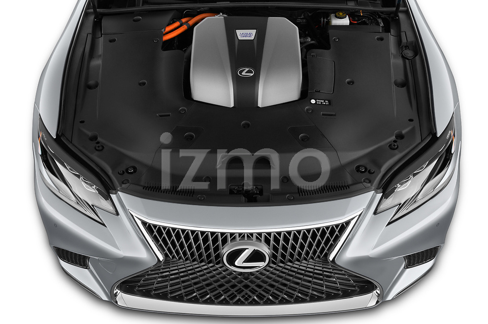 Car stock 2019 Lexus LS 500h 4 Door Sedan engine high angle detail view