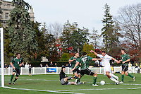 RJ Allen (21) of the Monmouth Hawks attempts to score. Dartmouth defeated Monmouth 4-0 during the first round of the 2010 NCAA Division 1 Men's Soccer Championship on the Great Lawn of Monmouth University in West Long Branch, NJ, on November 18, 2010.