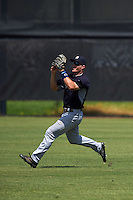 GCL Yankees 1 outfielder Trey Amburgey (66) catches a fly ball during the first game of a doubleheader against the GCL Tigers on August 5, 2015 at Tigertown in Lakeland, Florida.  GCL Tigers derated the GCL Yankees 5-2.  (Mike Janes/Four Seam Images)