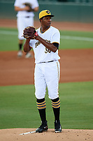 Bradenton Marauders starting pitcher Pedro Vasquez (30) gets ready to deliver a pitch during a game against the Tampa Tarpons on August 12, 2018 at LECOM Park in Bradenton, Florida.  The game was suspended in the bottom of the first inning due to weather.  (Mike Janes/Four Seam Images)
