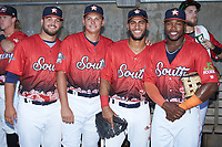 (L-R) Buies Creek All-Stars Brett Adcock (36), Brandon Bielak (13), Abraham Toro (34), and Ronnie Dawson (20) pose for a photo prior to the start of the 2018 Carolina League All-Star Classic at Five County Stadium on June 19, 2018 in Zebulon, North Carolina. The South All-Stars defeated the North All-Stars 7-6.  (Brian Westerholt/Four Seam Images)