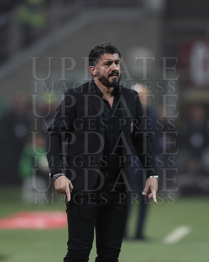 Calcio, Serie A: AC Milan - Inter Milan, Giuseppe Meazza (San Siro) stadium, Milan on 17 March 2019.  <br /> Milan's coach Gennaro Gattuso speaks to his players during the Italian Serie A football match between Milan and Inter Milan at Giuseppe Meazza stadium, on 17 March 2019. <br /> UPDATE IMAGES PRESS/Isabella Bonotto