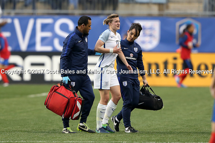 CHESTER, PA - MARCH 01: Ellen White (ENG) (11) is helped off of the field by two trainers. The England Women's National Team played the France Women's National Team as part of the She Believes Cup on March, 1, 2017, at Talen Engery Stadium in Chester, PA. The France won the game 2-1.