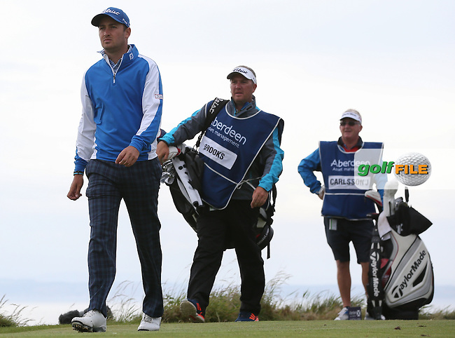 Daniel Brooks (ENG) leads the field by one shot during Round Three of the 2015 Aberdeen Asset Management Scottish Open, played at Gullane Golf Club, Gullane, East Lothian, Scotland. /11/07/2015/. Picture: Golffile | David Lloyd<br /> <br /> All photos usage must carry mandatory copyright credit (&copy; Golffile | David Lloyd)
