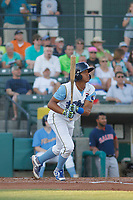 Myrtle Beach Pelicans infielder Aramis Ademan (11) at bat during a game against the Salem Red Sox at Ticketreturn.com Field at Pelicans Ballpark on June 8, 2018 in Myrtle Beach, South Carolina. Myrtle Beach defeated Salem 5-4. (Robert Gurganus/Four Seam Images)