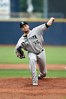Dayton Dragons pitcher Ismael Guillon (35) delivers a pitch during a game against the Lake County Captains on June 8, 2014 at Classic Park in Eastlake, Ohio.  Lake County defeated Dayton 4-2.  (Mike Janes/Four Seam Images)