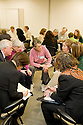 Attendess meeting in discussion groups after the presentations. This forum entitled Strategies for a Sustainable Santa Clara County: Developing Goals and Planning Tools was held at the Silicon Valley Community Foundation (SVCF) in Mountain View, CA from 9 AM to Noon on 1/25/2008. The event was sponsored by Leagues of Women Voters of Santa Clara County and Office of County Supervisor Liz Kniss.