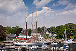 Windjammers in Camden Harbor, Camden, ME, USA
