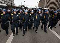 Police contain a demonstration held in Copenhagen on Dec 14. United Nations Climate Change Conference (COP15) was held at Bella Center in Copenhagen from the 7th to the 18th of December, 2009. A great deal of groups tried to voice their opinion and promote their cause in various ways. The conference and demonstrations was covered by thousands of photographers and journalists from all over the world...©Fredrik Naumann/Felix Features.