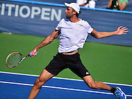 Washington, DC - July 24, 2016: Ivo Karlovic of Croatia   plays a shot during his finals match against Gael Monfils of France in the Citi Open at the Rock Creek Park Tennis Center in the District of Columbia, July 24, 2016.  (Photo by Don Baxter/Media Images International)