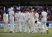7th September 2017, Lords Cricket Ground, London, England; International Test Match Series, Third Test, Day 1; England versus West Indies; England Bowler Ben Stokes celebrates taking the wicket of West Indies Batsman Roston Chase with team mates