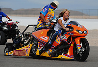 Nov. 1, 2008; Las Vegas, NV, USA: NHRA pro stock motorcycle rider Angie McBride during qualifying for the Las Vegas Nationals at The Strip in Las Vegas. Mandatory Credit: Mark J. Rebilas-