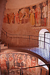 14th century frescoes decorate a hidden stairway in one of the original smaller apses of the Basilica S. Maria Maggiore in Bergamo, Italy