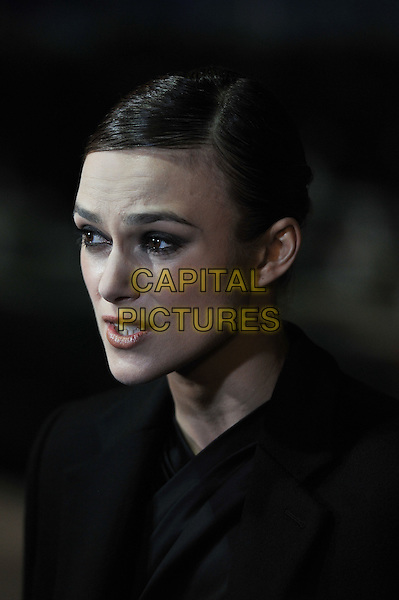 Keira Knightley .'A Dangerous Method' premiere, 55th BFI London Film Festival, Odeon West End cinema, Leicester Square, London, England..24th October 2011.headshot portrait black mouth open looks worried upset funny.CAP/MAR.© Martin Harris/Capital Pictures.