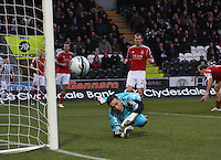 Jamie Langfield watches anxiously as the ball goes past in the St Mirren v Aberdeen Clydesdale Bank Scottish Premier League match played at St Mirren Park, Paisley on 9.11.12.
