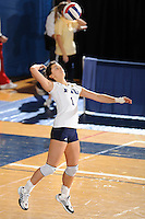 20 November 2008:  FIU middle blocker Andrea Lakovic (1) serves during the FIU 3-1 victory over South Alabama in the first round of the Sun Belt Conference Championship tournament at FIU Stadium in Miami, Florida.