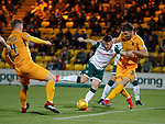 29.03.2019 Livingston v Hibs: Marc McNulty has his shot blocked by Declan Gallagher