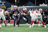 FOXBORO, MA - OCTOBER 10: New England Patriots Quarterback Tom Brady (12) in the pocket during a game between New York Giants and New England Patriots at Gillettes on October 10, 2019 in Foxboro, Massachusetts.
